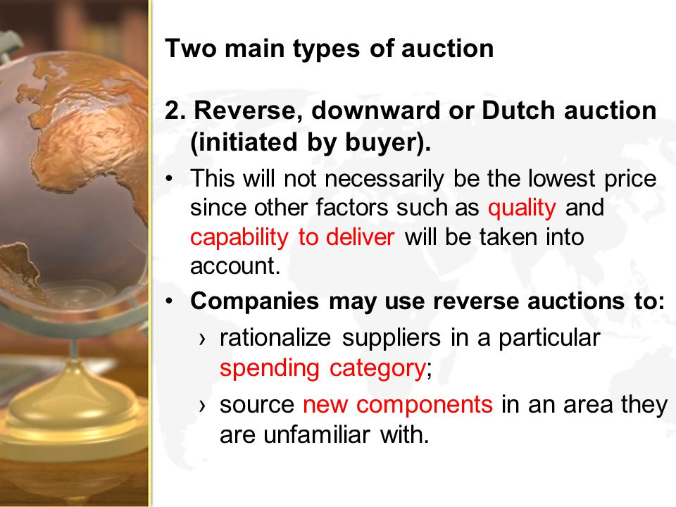 Two main types of auction
