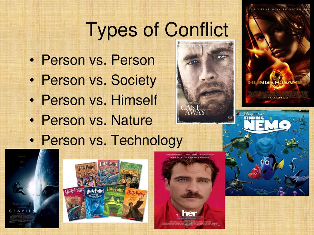 Types of Conflict Person vs. Person Person vs. Society