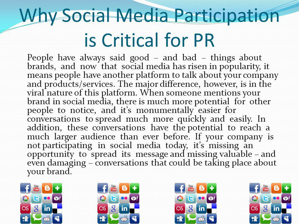 Why Social Media Participation is Critical for PR
