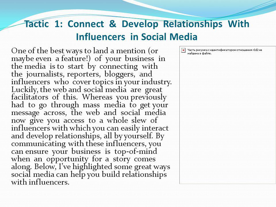 Tactic 1: Connect & Develop Relationships With Influencers in Social Media