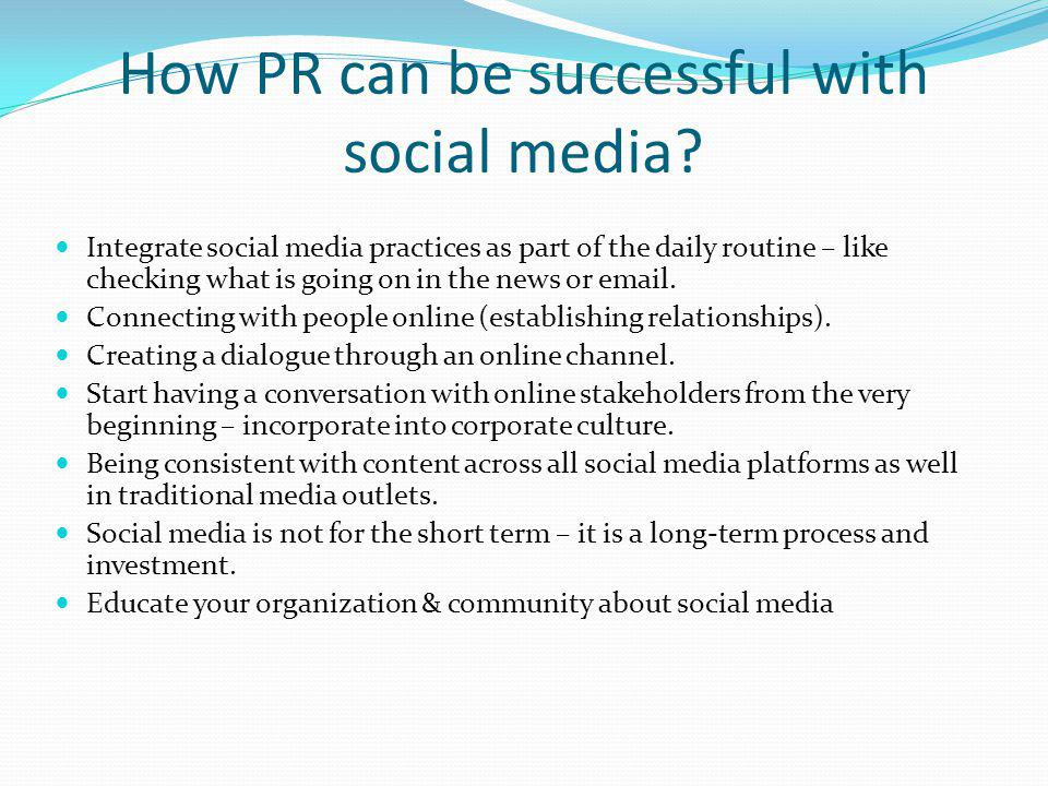 How PR can be successful with social media