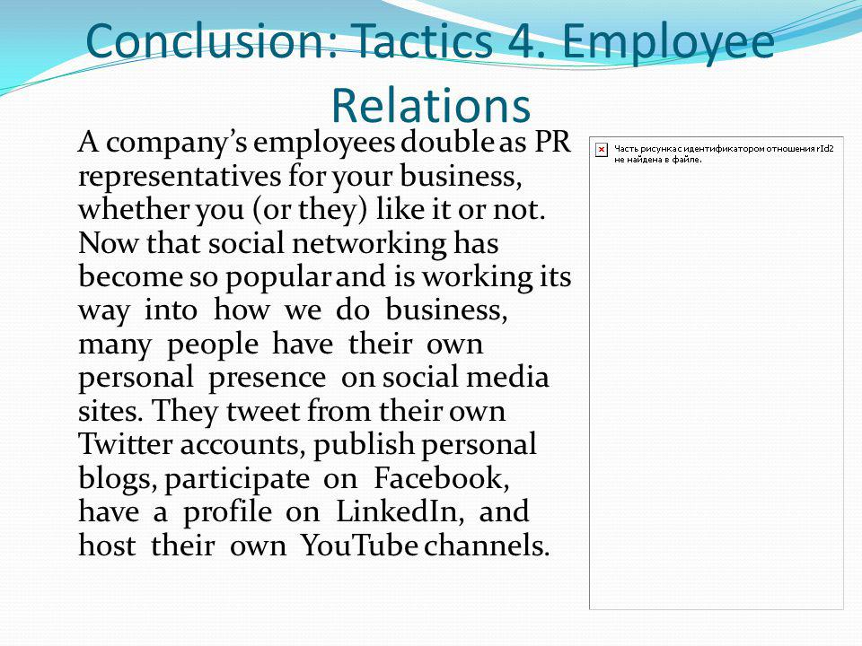 Conclusion: Tactics 4. Employee Relations