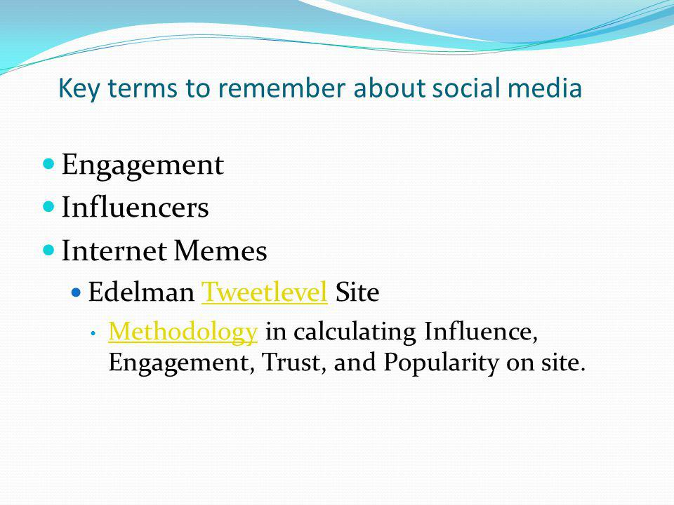 Key terms to remember about social media