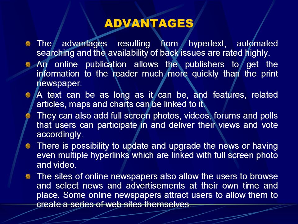 ADVANTAGES The advantages resulting from hypertext, automated searching and the availability of back issues are rated highly.
