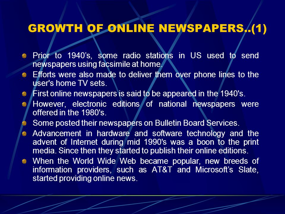 GROWTH OF ONLINE NEWSPAPERS..(1)