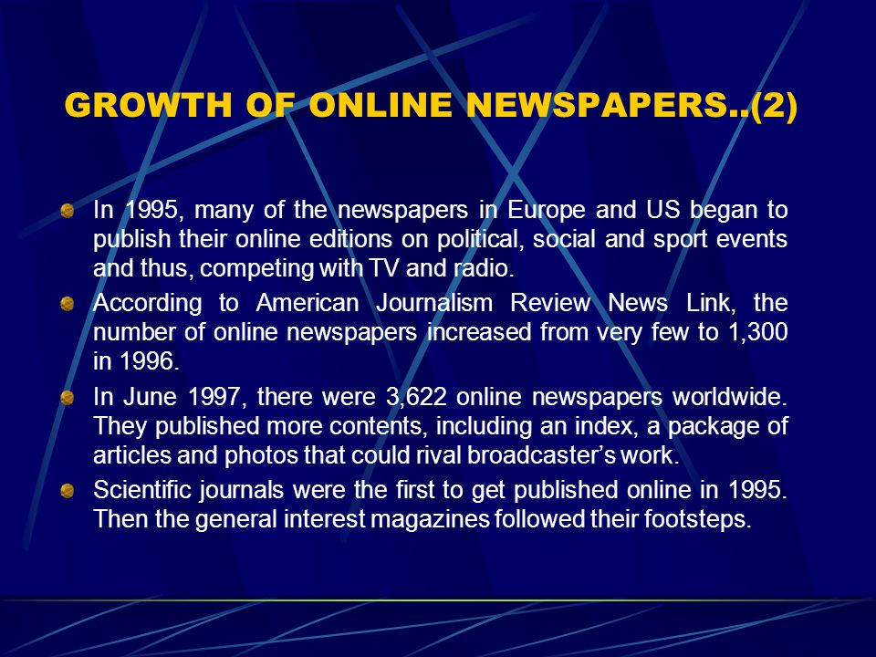 GROWTH OF ONLINE NEWSPAPERS..(2)