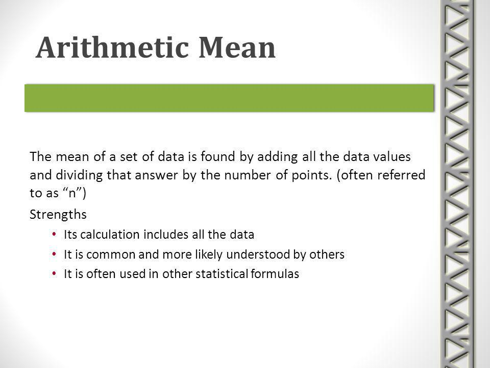 arithmetic mean and program Write a single program that calculates the arithmetic mean (average), rms average, geometric mean, and harmonic mean for a set of positive numbers.