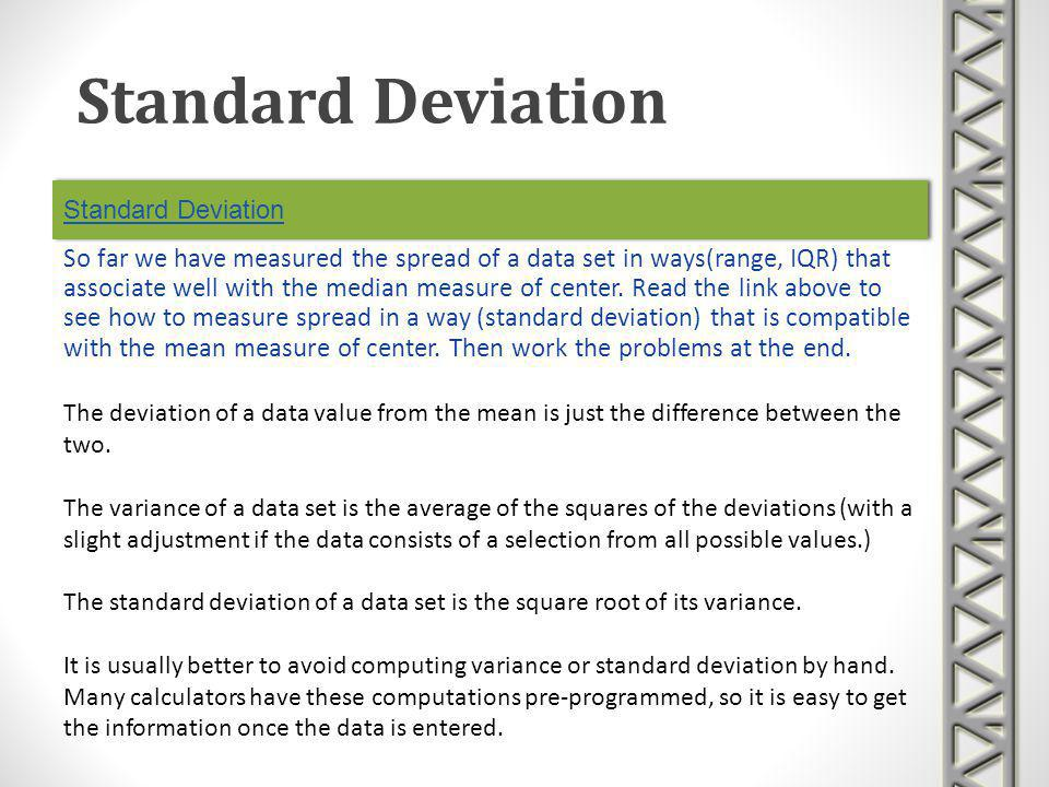 Standard Deviation Standard Deviation.