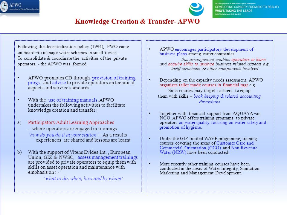 Knowledge Creation & Transfer- APWO