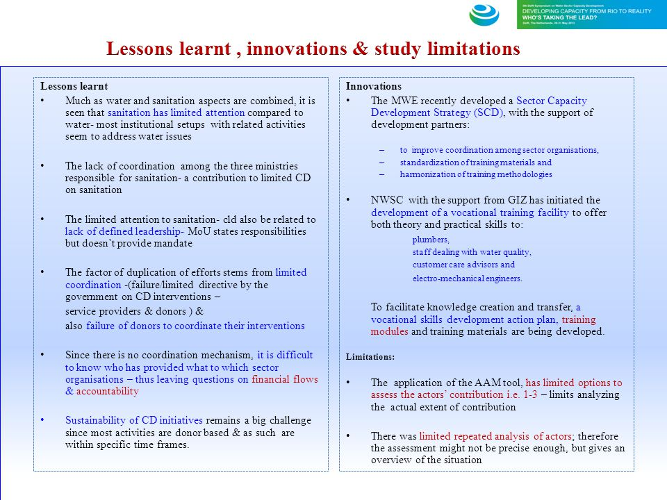 Lessons learnt , innovations & study limitations