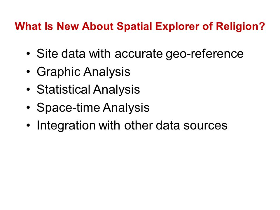 What Is New About Spatial Explorer of Religion