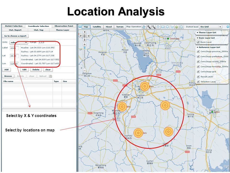 Location Analysis Select by X & Y coordinates