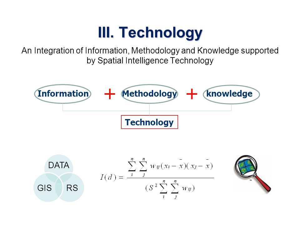 III. Technology An Integration of Information, Methodology and Knowledge supported by Spatial Intelligence Technology