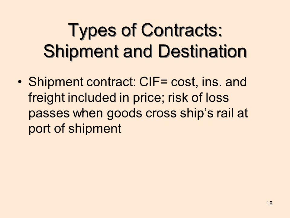 Types of Contracts: Shipment and Destination