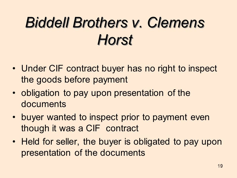 Biddell Brothers v. Clemens Horst