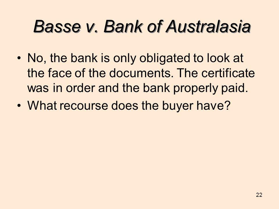 Basse v. Bank of Australasia