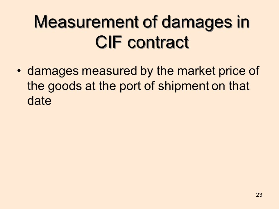 Measurement of damages in CIF contract