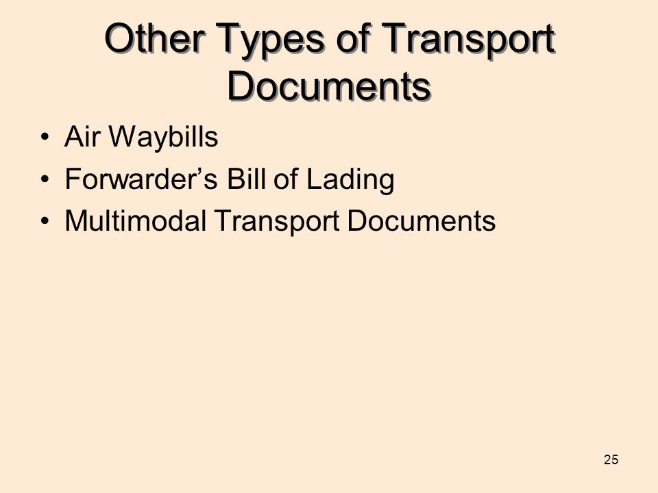 Other Types of Transport Documents