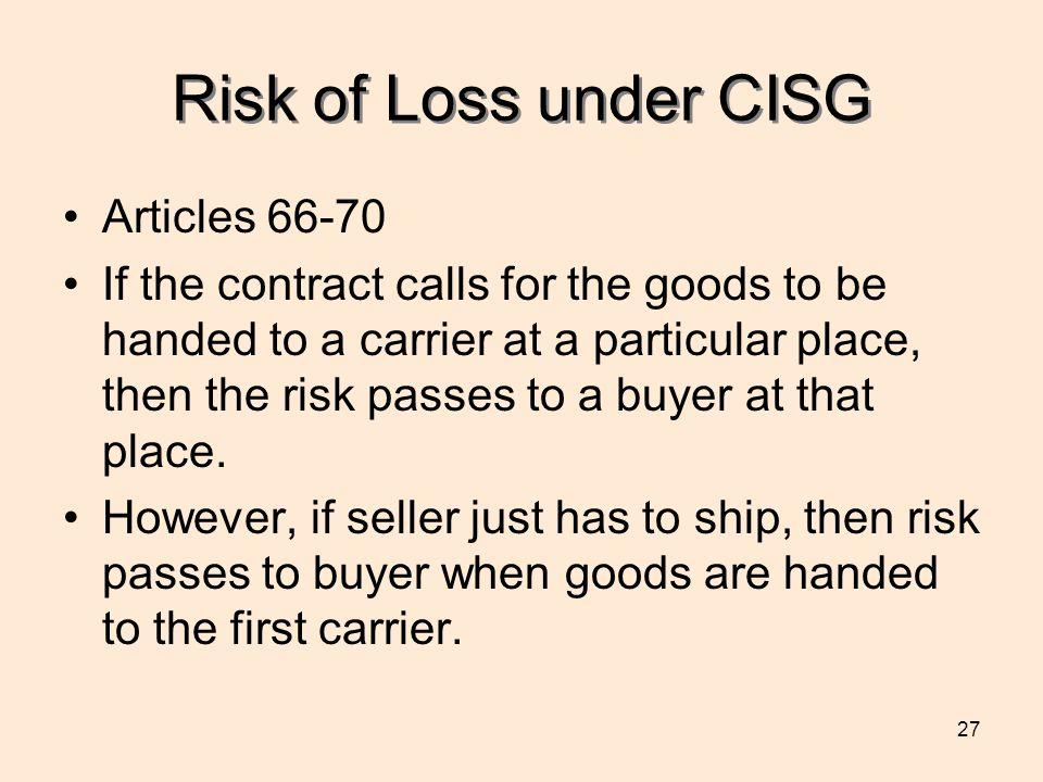 Risk of Loss under CISG Articles 66-70