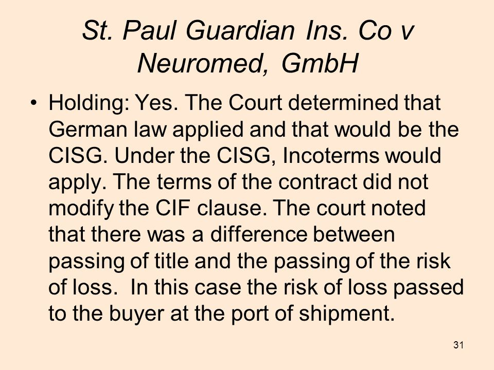 St. Paul Guardian Ins. Co v Neuromed, GmbH