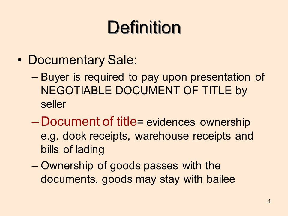 Definition Documentary Sale: