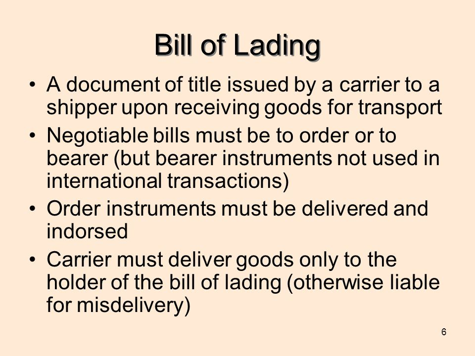 Bill of Lading A document of title issued by a carrier to a shipper upon receiving goods for transport.