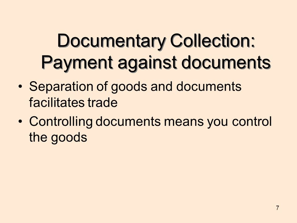 Documentary Collection: Payment against documents