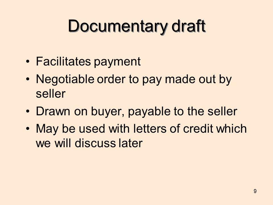 Documentary draft Facilitates payment