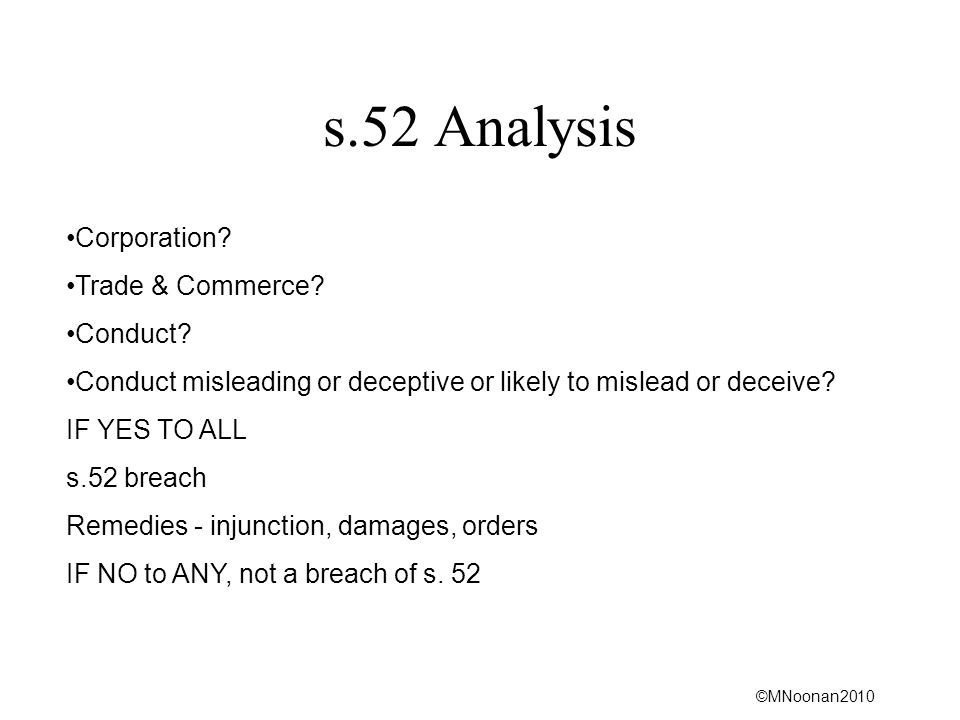 s.52 Analysis Corporation Trade & Commerce Conduct