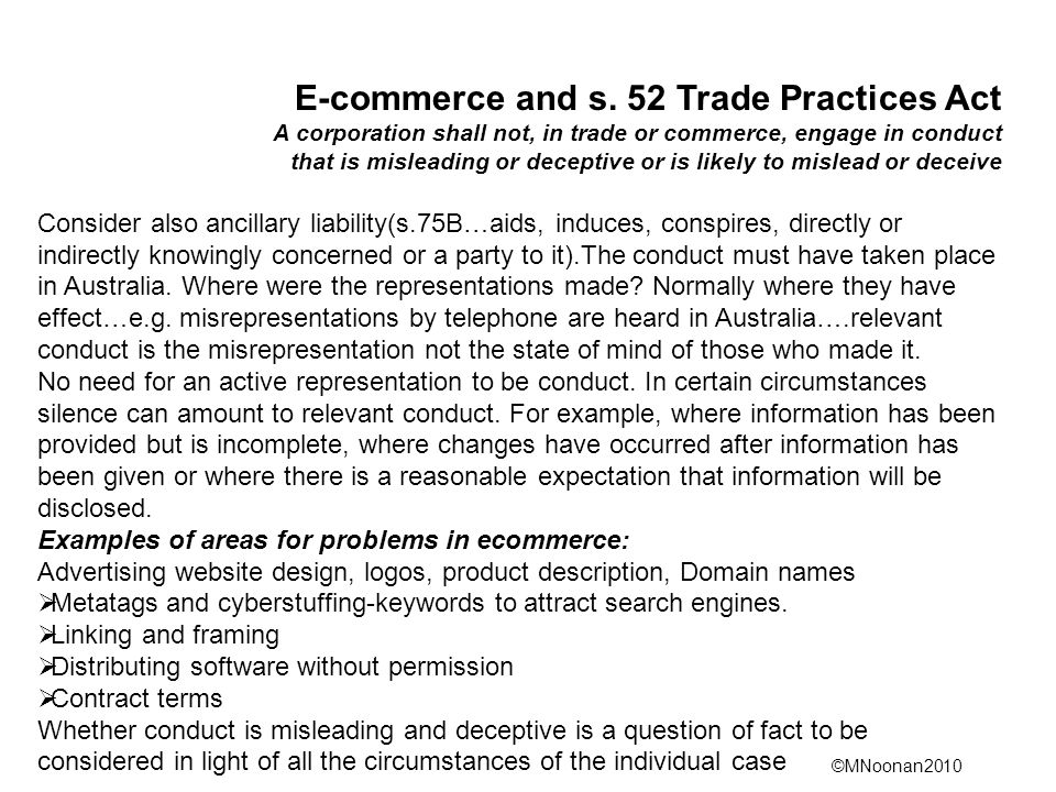 E-commerce and s. 52 Trade Practices Act