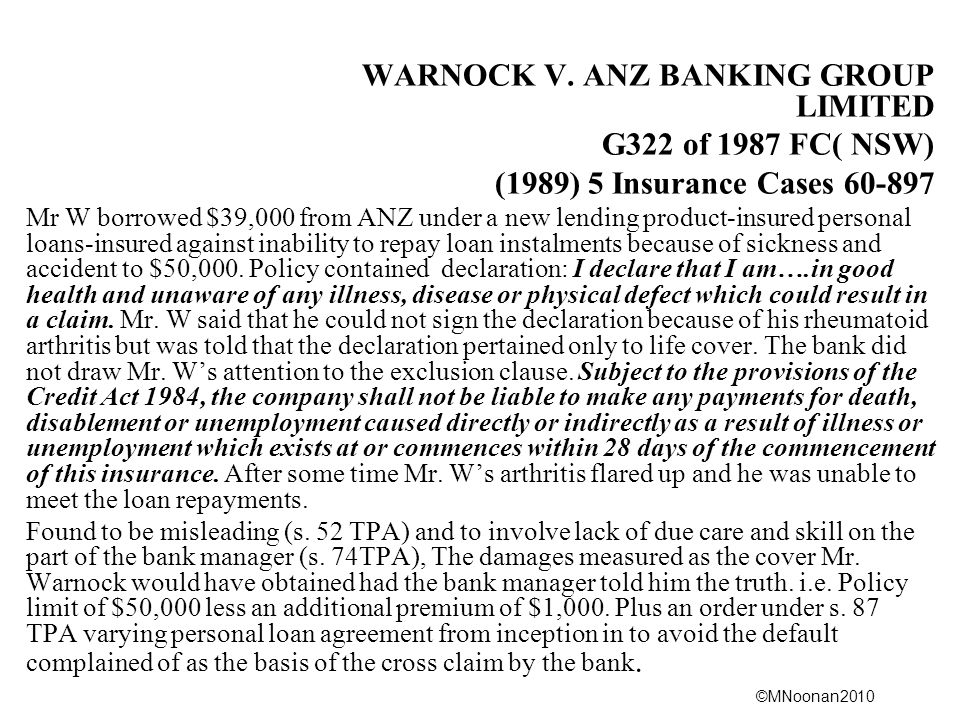 WARNOCK V. ANZ BANKING GROUP LIMITED G322 of 1987 FC( NSW)