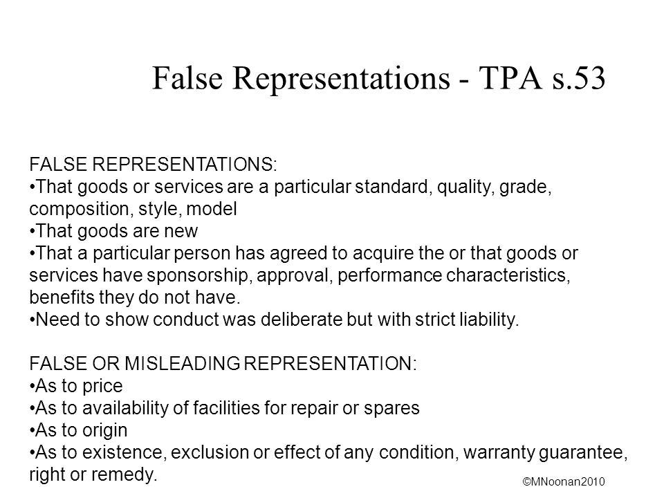 False Representations - TPA s.53