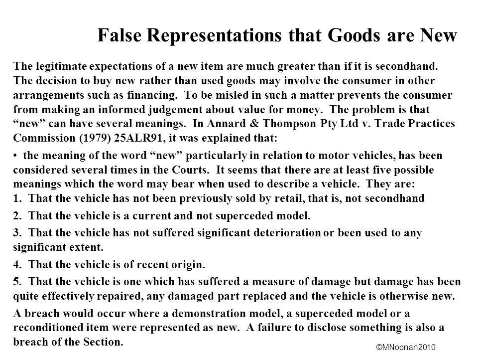 False Representations that Goods are New
