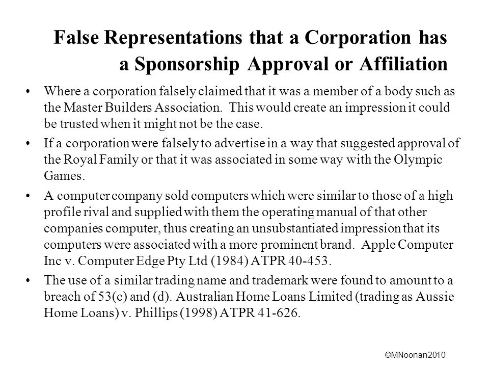 False Representations that a Corporation has a Sponsorship Approval or Affiliation
