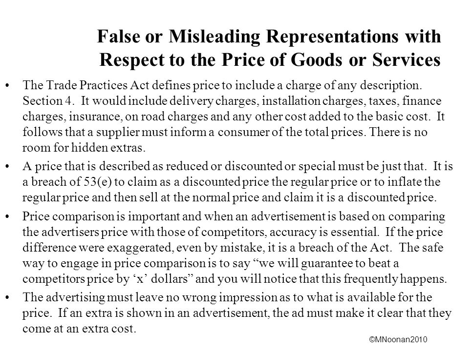 False or Misleading Representations with Respect to the Price of Goods or Services