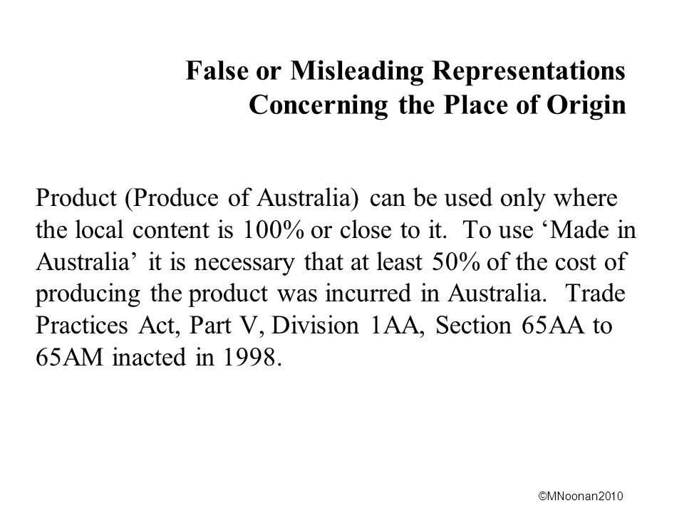 False or Misleading Representations Concerning the Place of Origin