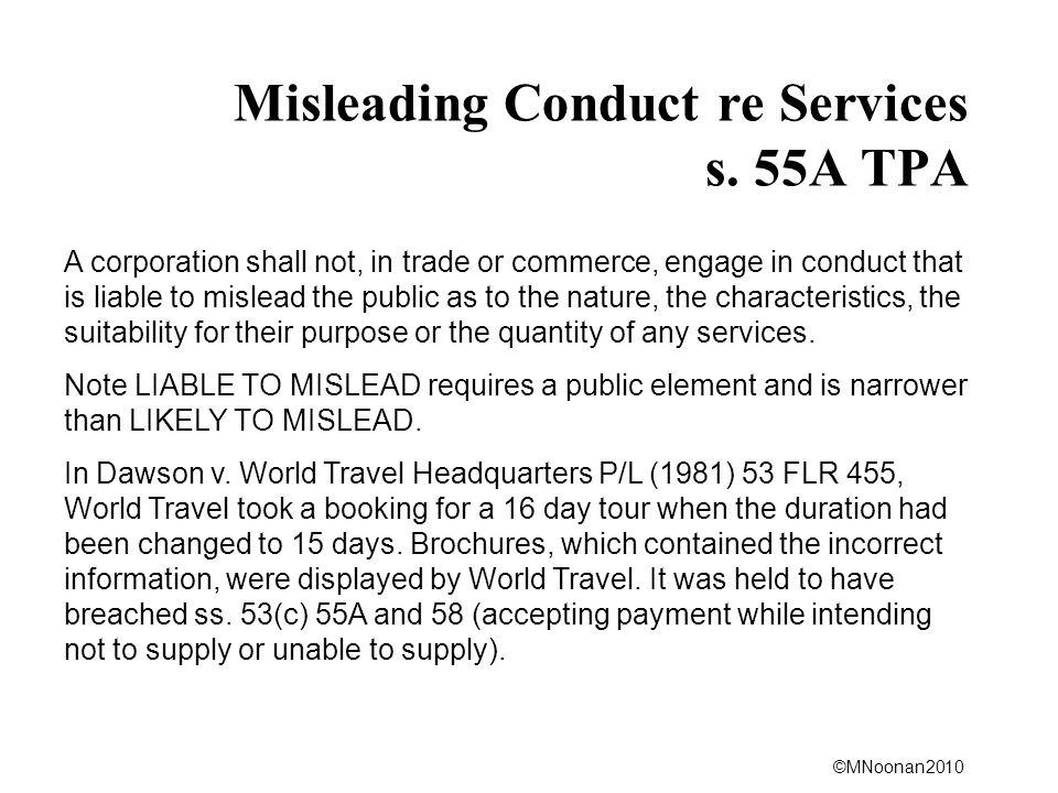 Misleading Conduct re Services s. 55A TPA
