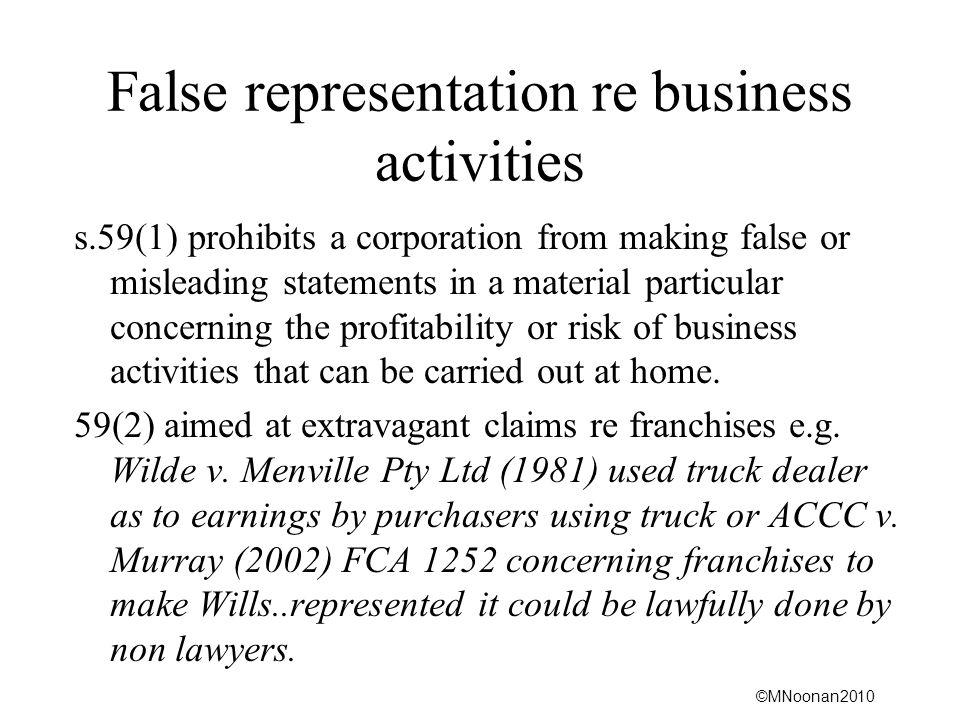 False representation re business activities
