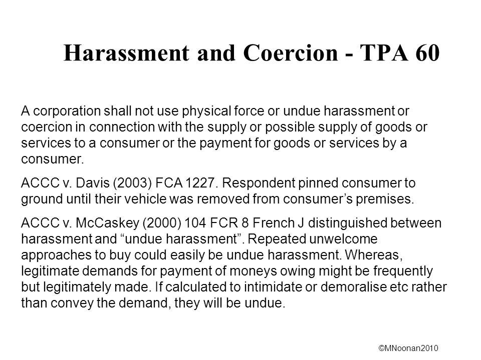 Harassment and Coercion - TPA 60