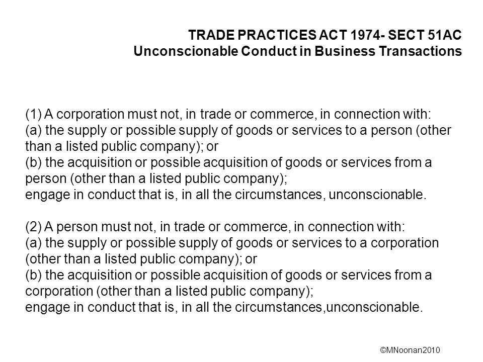 Unconscionable Conduct in Business Transactions