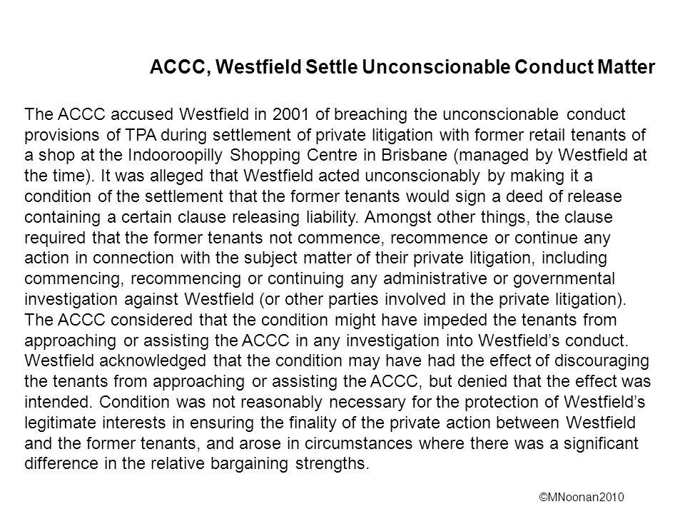 ACCC, Westfield Settle Unconscionable Conduct Matter
