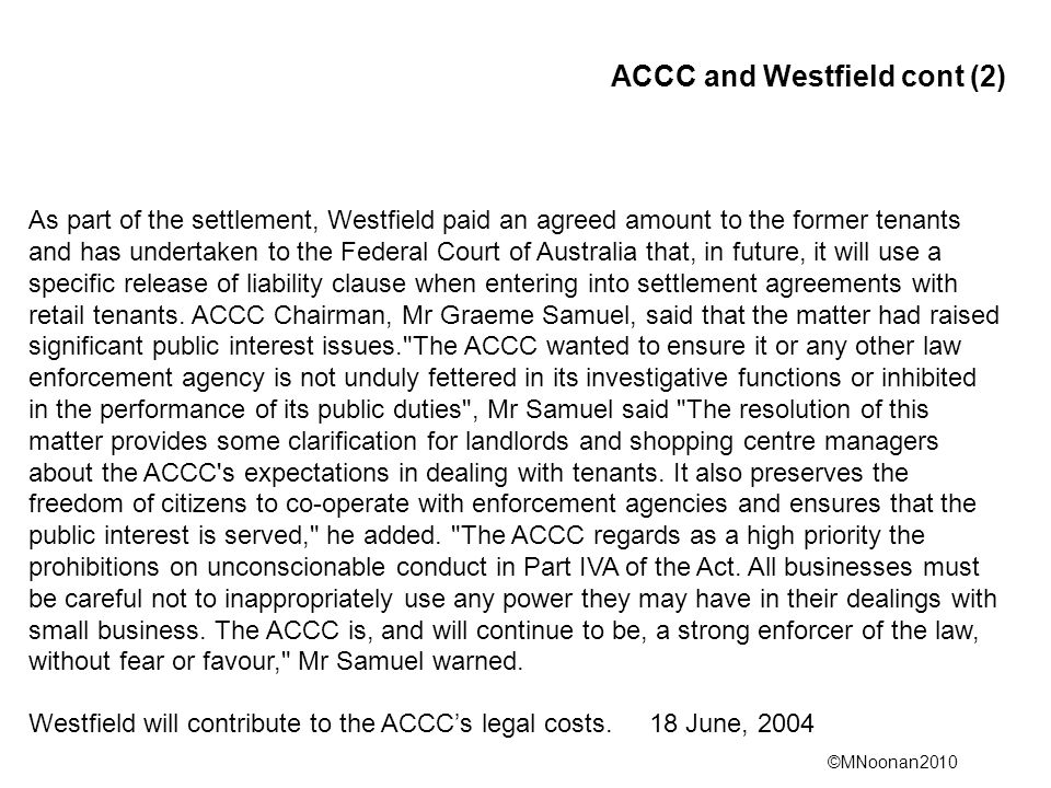 ACCC and Westfield cont (2)