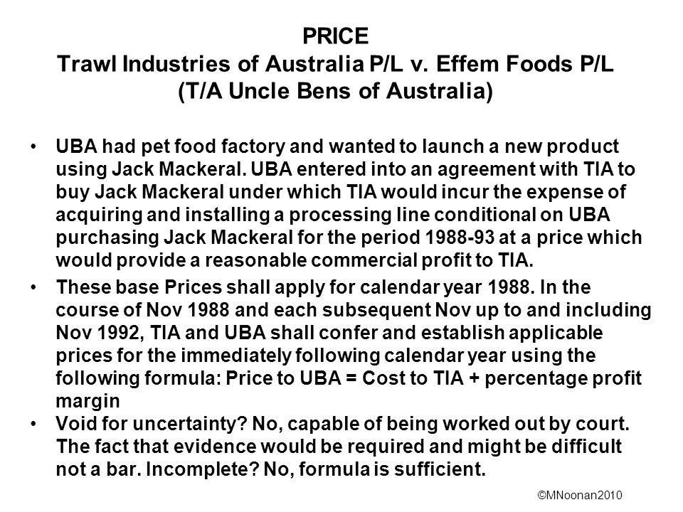 PRICE Trawl Industries of Australia P/L v