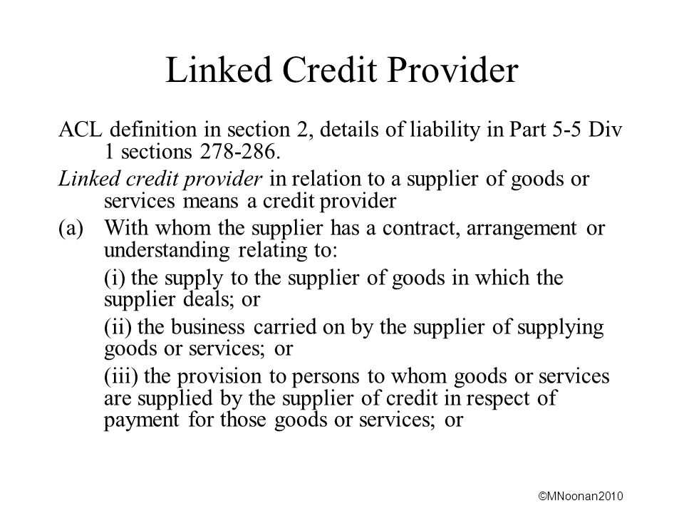 Linked Credit Provider