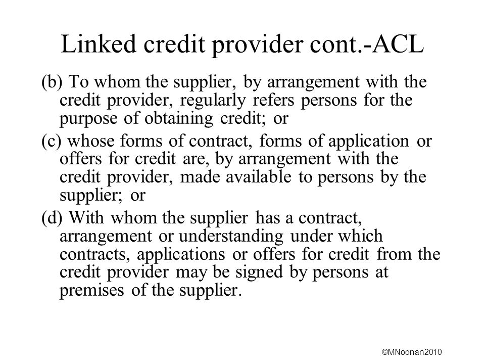 Linked credit provider cont.-ACL