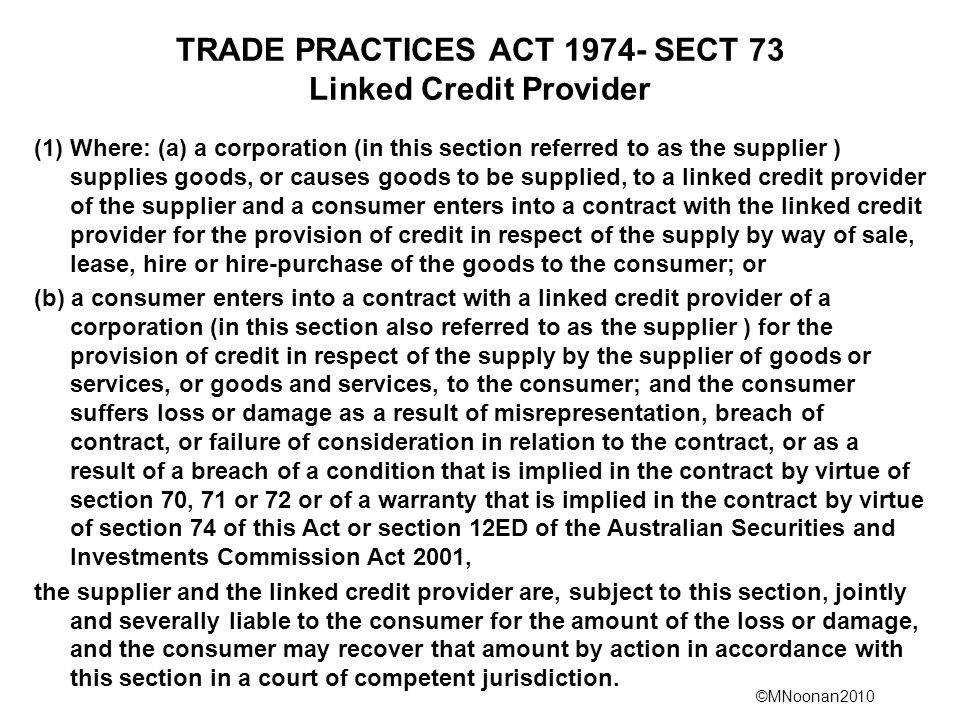 TRADE PRACTICES ACT 1974- SECT 73 Linked Credit Provider