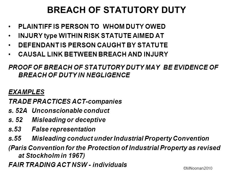 BREACH OF STATUTORY DUTY