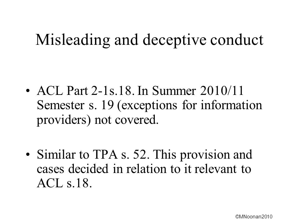 Misleading and deceptive conduct