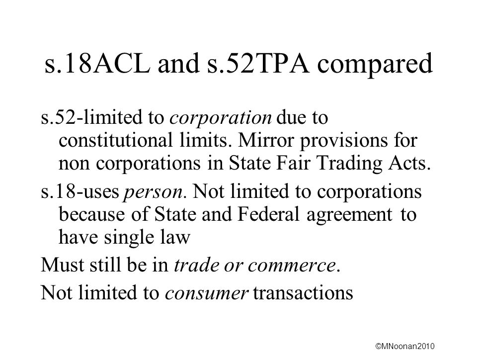 s.18ACL and s.52TPA compared