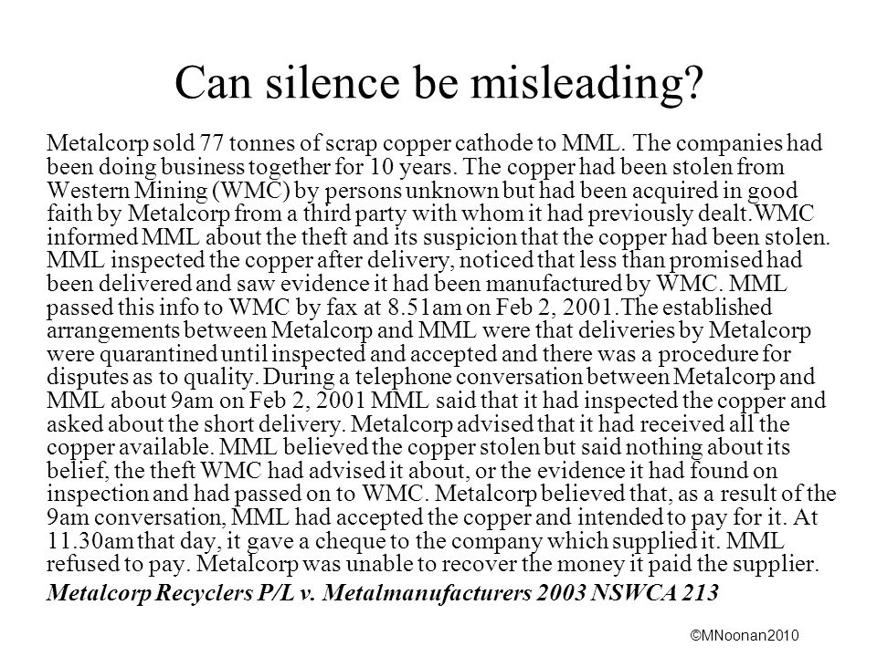 Can silence be misleading